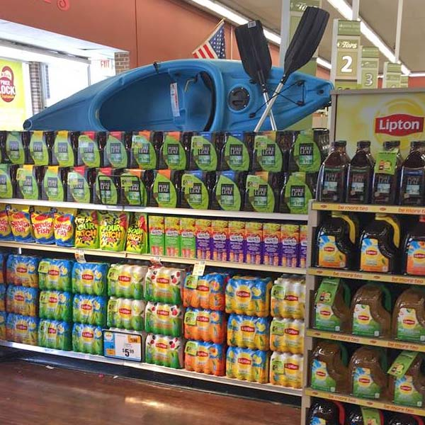 Stocked Beverage display at grocery store