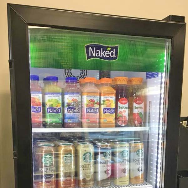 Juice and coffee drinks in cooler