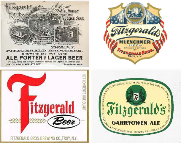 collage of historic fitzgerald bros. logos and ads